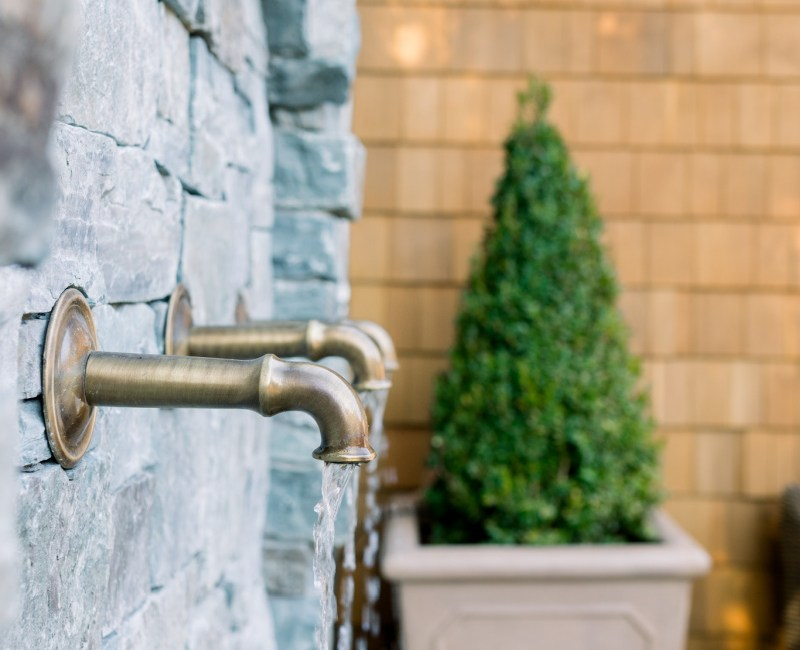 Boxwood Topiaries and Fountain Spouts