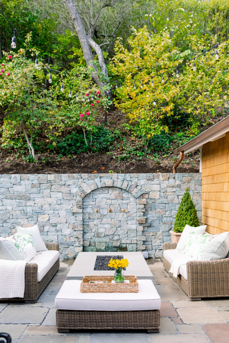Patio Seating Area with fire pit and water feature