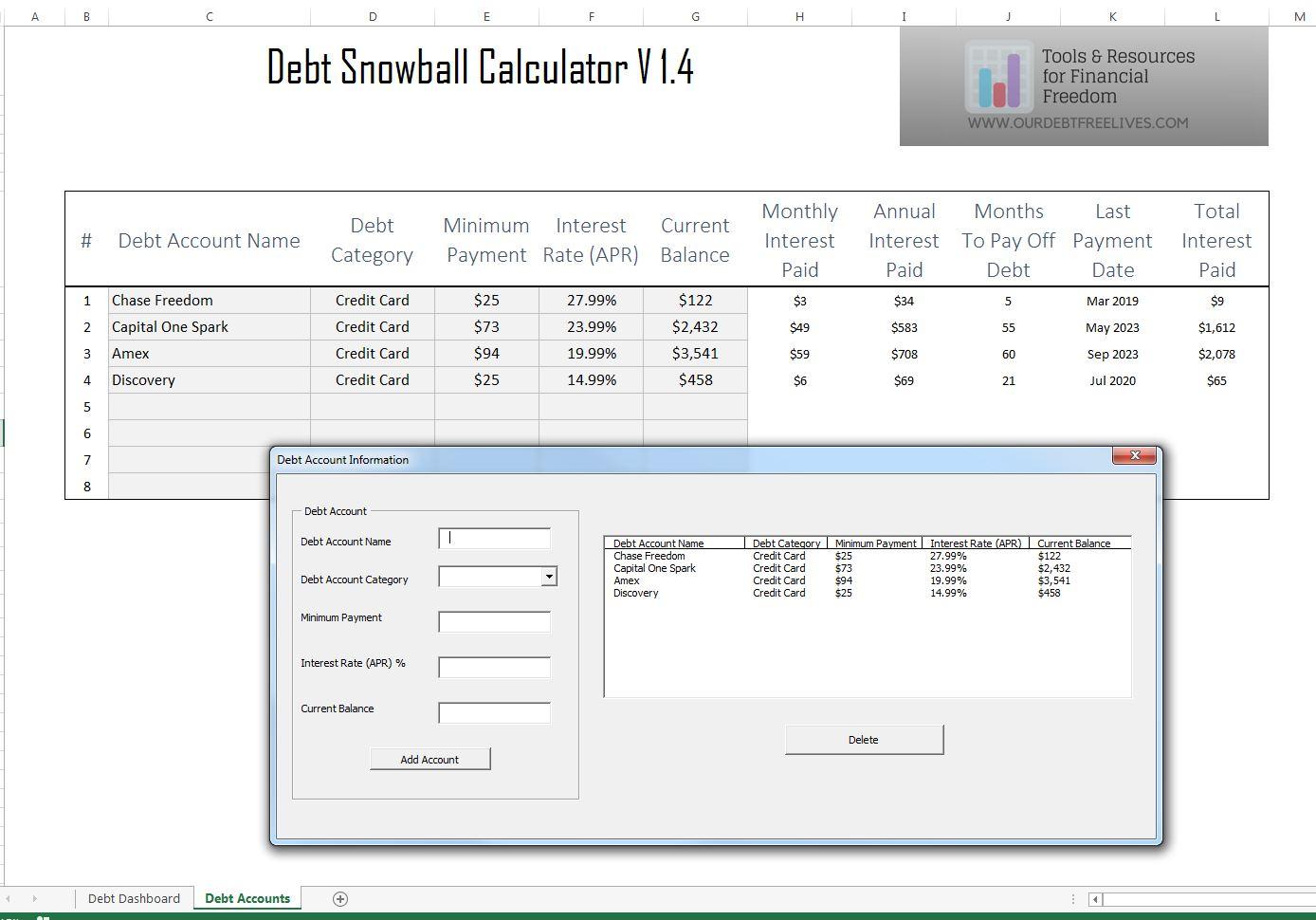 Debt Snowball Calculator Excel