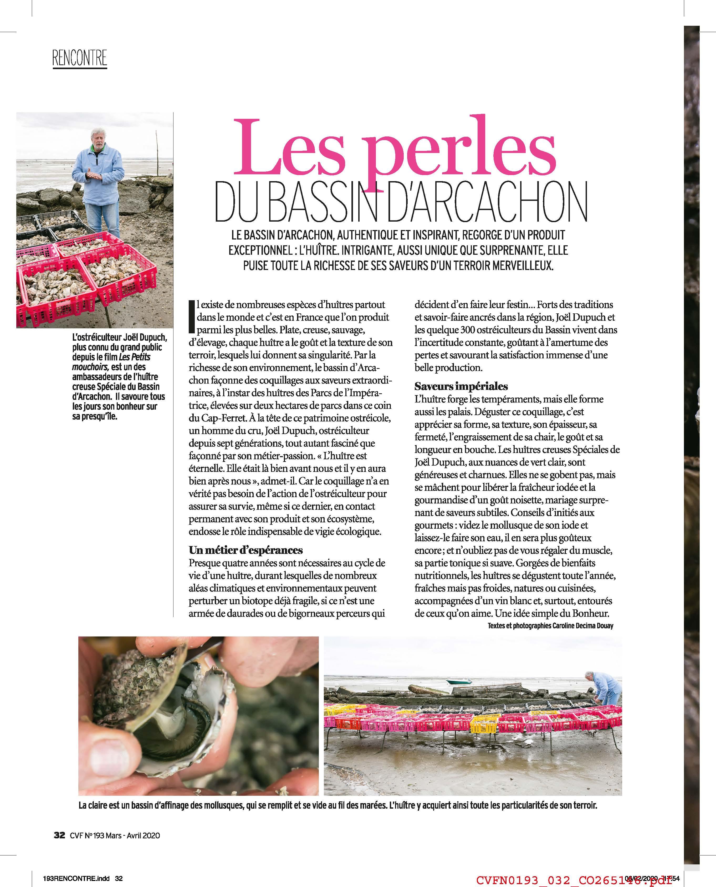 Les Huîtres du Bassin D'Arcachon, Parcs de l'Impératrice, Cuisine et Vins de France, Joël Dupuch