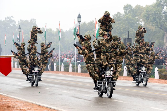 Members of the India's Border Security Force on Republic Day