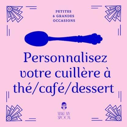 Cuillère personnalisée à thé/café/dessert, gravée à la main