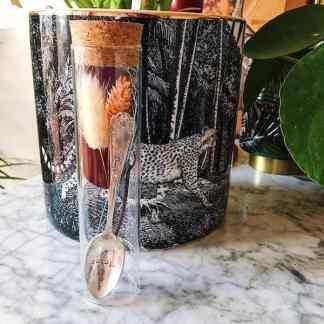 Cuillère à moka/café personnalisée + Bouquet de fleurs dans  son tube  – Edition limitée