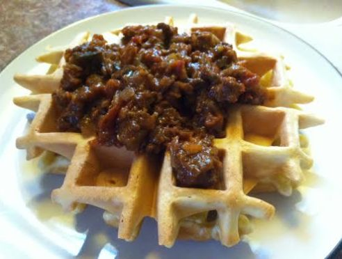 cornmeal waffles and chili