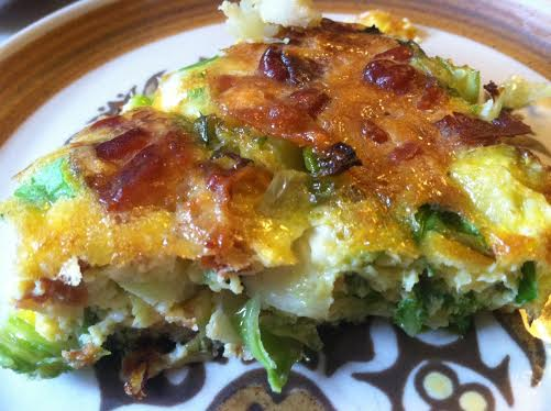 brussel sprout frittata slice
