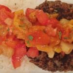 Black bean burgers with tropical salsa