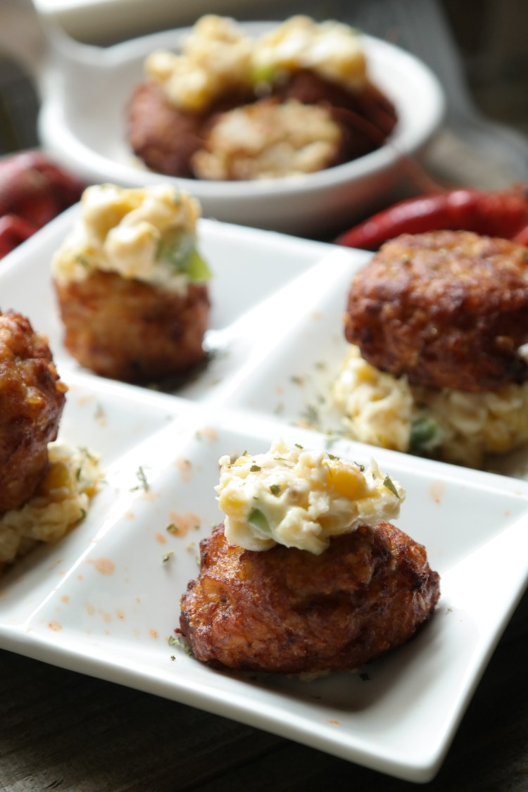 Leftover Crawfish Boil Fritters with Creamed Corn Sauce