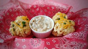 Big Cheesy Mac Attack: Leftover Mac & Cheese Biscuits with Cajun Sausage Gravy