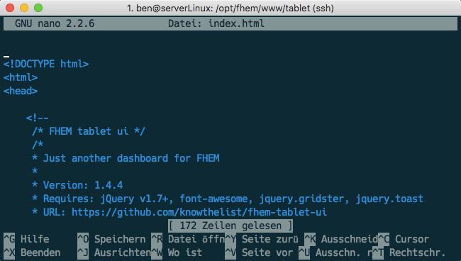 FHEM Tablet UI index.html nano editor