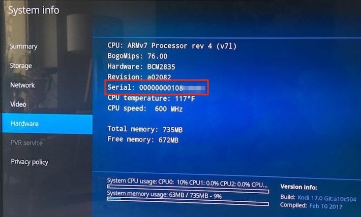 Raspberry Pi 3 Serial Number Nummer LibreELEC