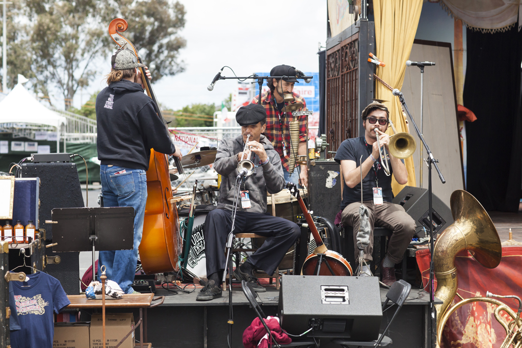 SAN MATEO, CA May 20 2016 - The band for Traveling Spectacular warming up at the 11th Annual Maker Faire Bay Area at the San Mateo County Event Center.