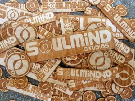 Soul Mind Laser etched wood logo