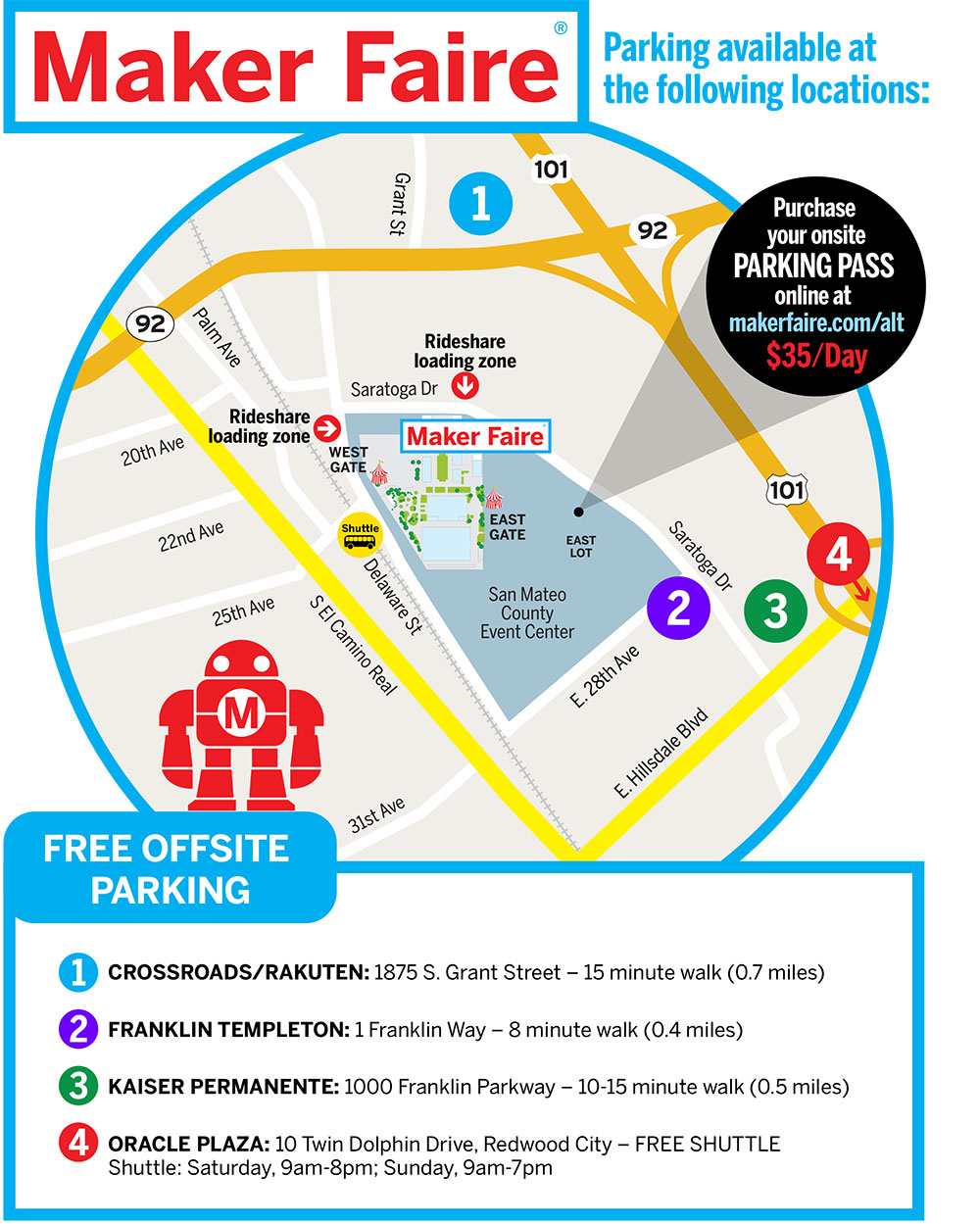 Maker Faire 2019 Parking Map