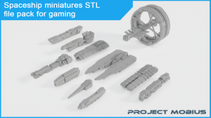 Project Mobius: Printable spaceship miniatures STL file pack for gaming