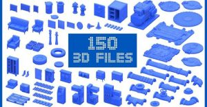 Urban and Industrial 3D Printable Models Sets