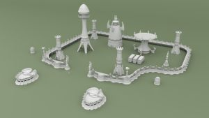 3D Printable Alien Space Elf Scenery for Tabletop Wargames