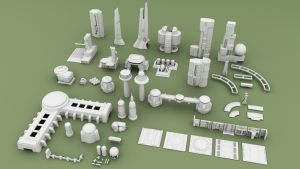 3D Printable Sci-fi Buildings for Tabletop Wargames Set #2