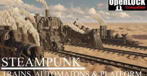 Steampunk: trains, automatons and platform