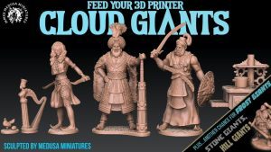 3d printable CLOUD GIANTS - sculpted by Medusa Minis 7 days!