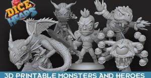 Dice Heads: Fantasy RPG Printable Miniature Bundle