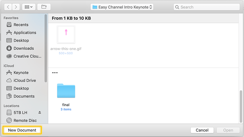Make a Free Youtube Video Intro in Keynote - Step 1a - Open A New Document in Keynote