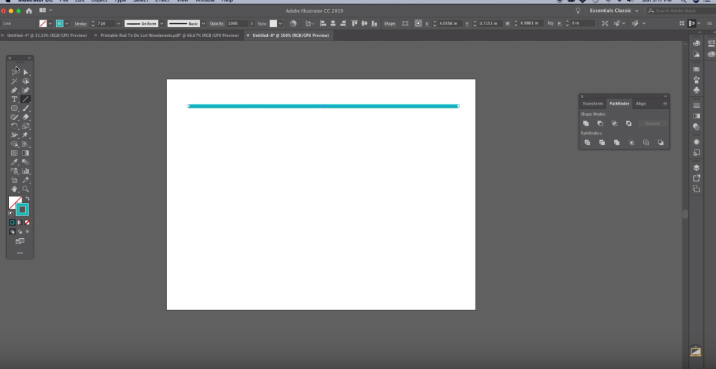 How to Make Chevron in Illustrator Step 1 drag out a straight line