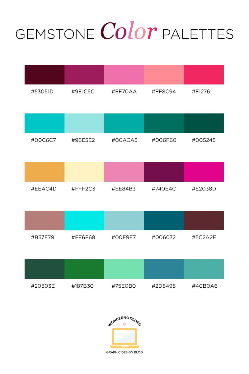 Gemstone Color Palette for Graphic Web Print Design Wondernote