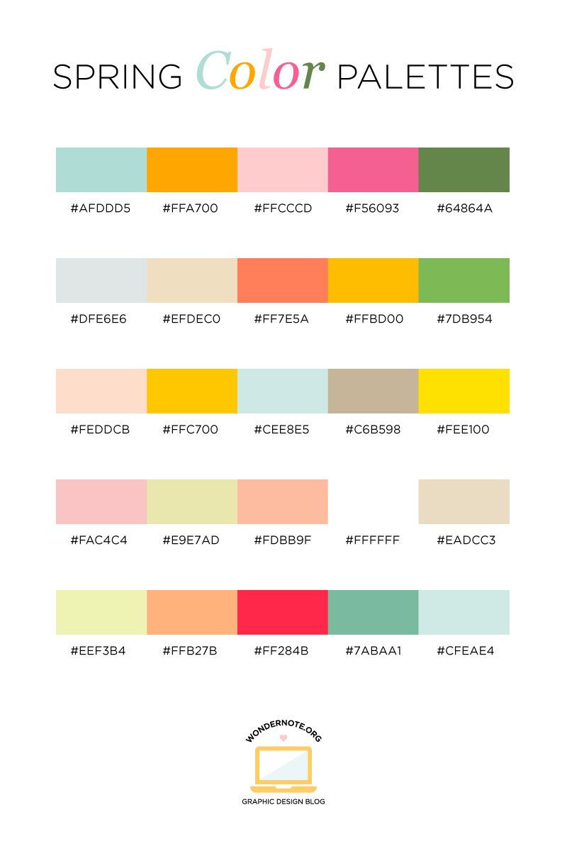 Spring Color Palette for Graphic Web Print Design Wondernote
