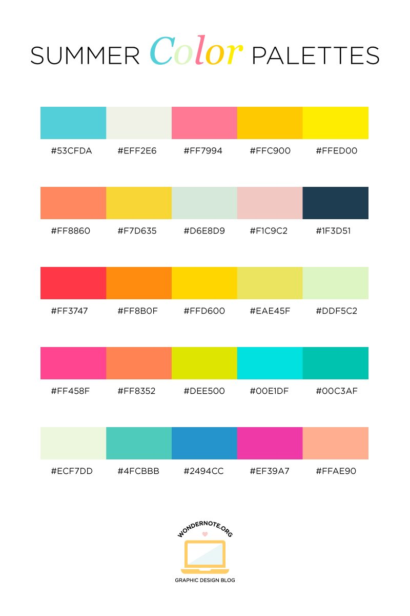 Summer Color Palette for Graphic Web Print Design Wondernote