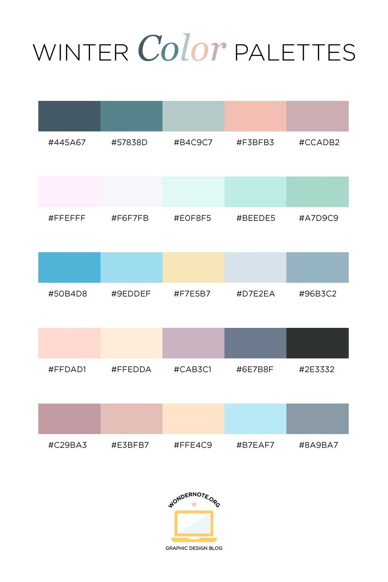 Winter Color Palette for Graphic Web Print Design Wondernote