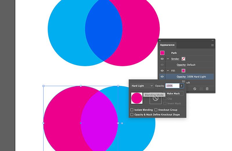 Hard Light Blending Mode creates Riso Effect in Illustrator