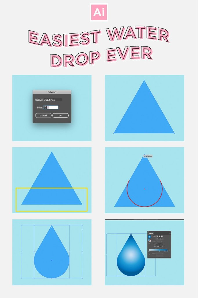 Easy Fast Waterdrop Illustrator Infographic