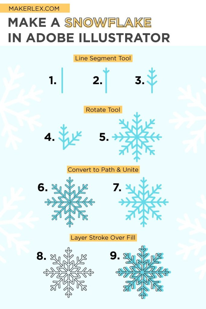 How to Make a snowflake in adobe illustrator step-by-step