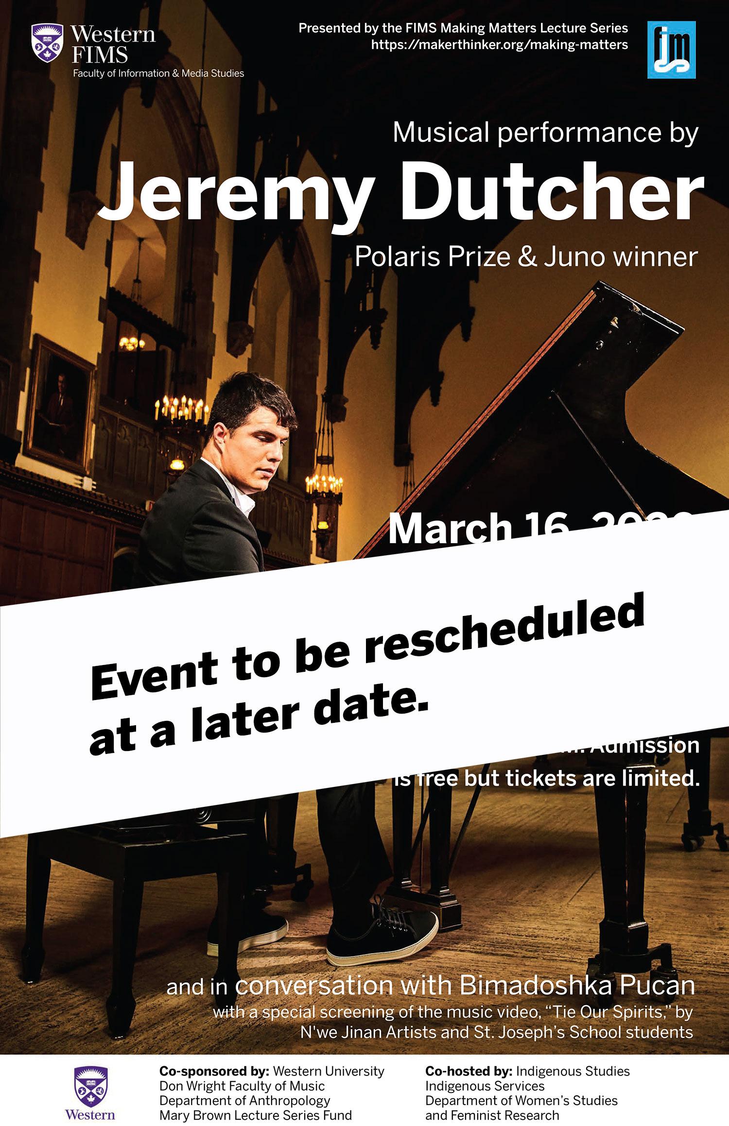 Jeremy Dutcher event poster