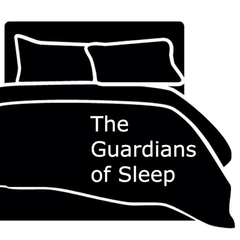 The Guardians of Sleep Podcast logo, a black and white graphic of a bed