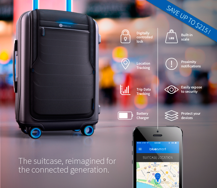 BLUESMART LA VALIGIA SMART CON GPS | APERTURA E CHIUSURA DIGITALE | BILANCIA | CARICABATTERIE | TRACCIAMENTO DELLA POSIZIONE