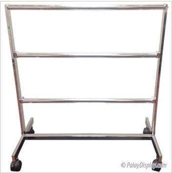 Metal tape rack on wheels with three display bars