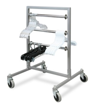 Metal rolling tape rack with three adjustable display bars and plastic hangers hanging on them