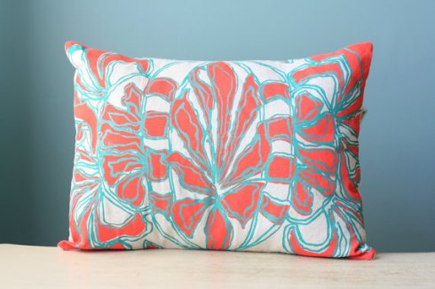 red and blue pillow design