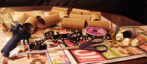 materials for a DIY cardboard wreath