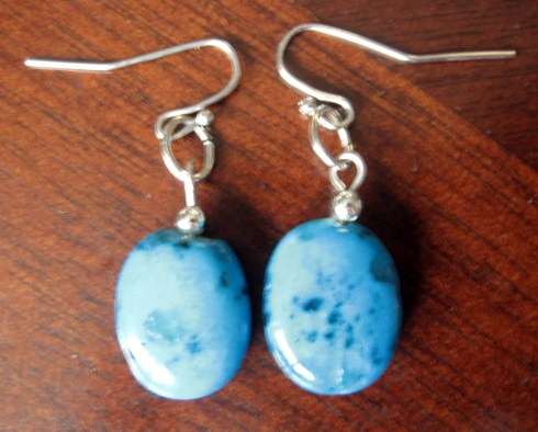 Medium blue stone earrings via The Artsy Parts $10.00