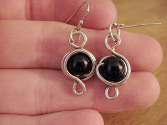 Wire-wrapped earrings via Make Something Mondays