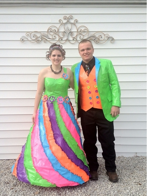 Pastel colored duct tape prom dress and tux