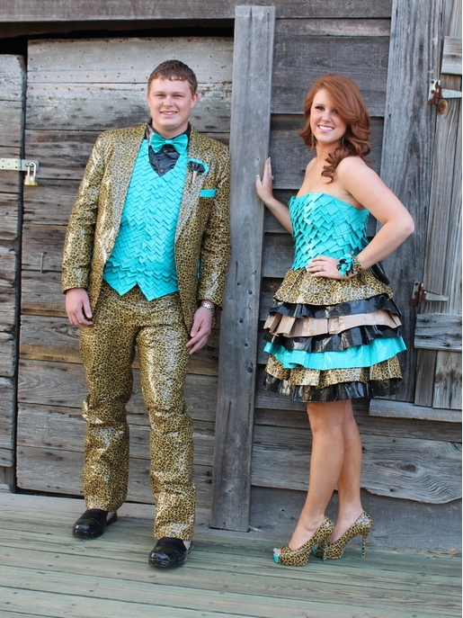 leopard and blue duct tape prom dress and tux