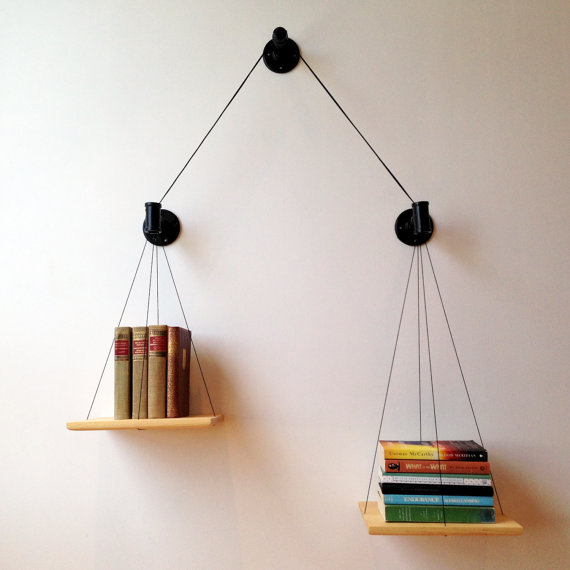 Balancing book shelf
