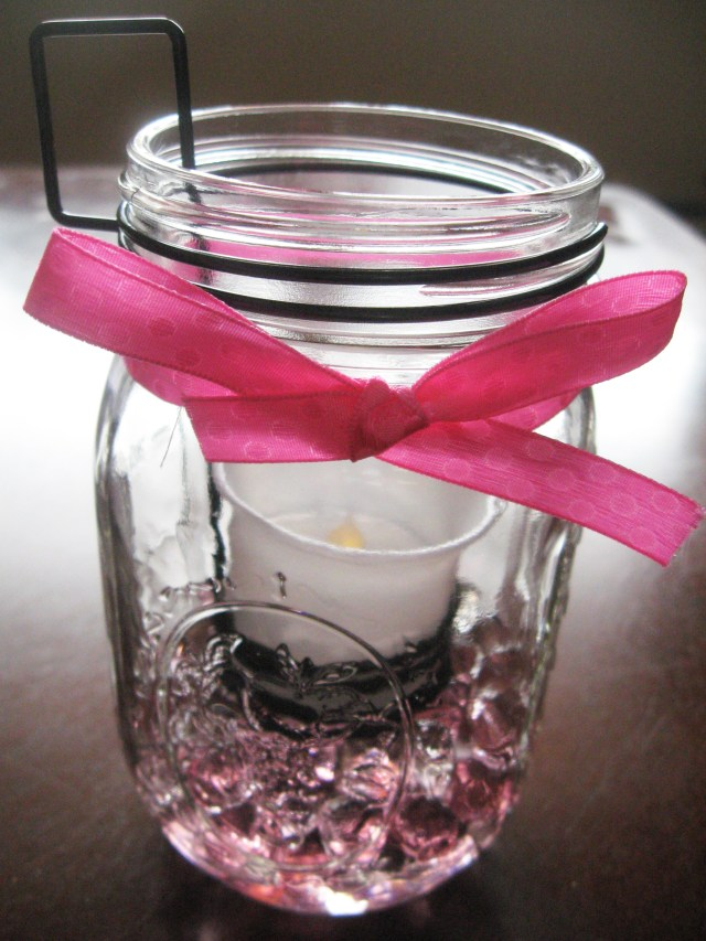 DIY mason jar LED candle decor