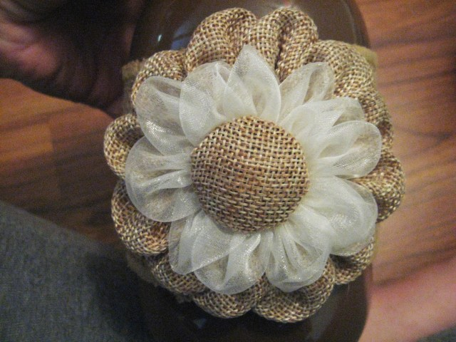 burlap flower decoration