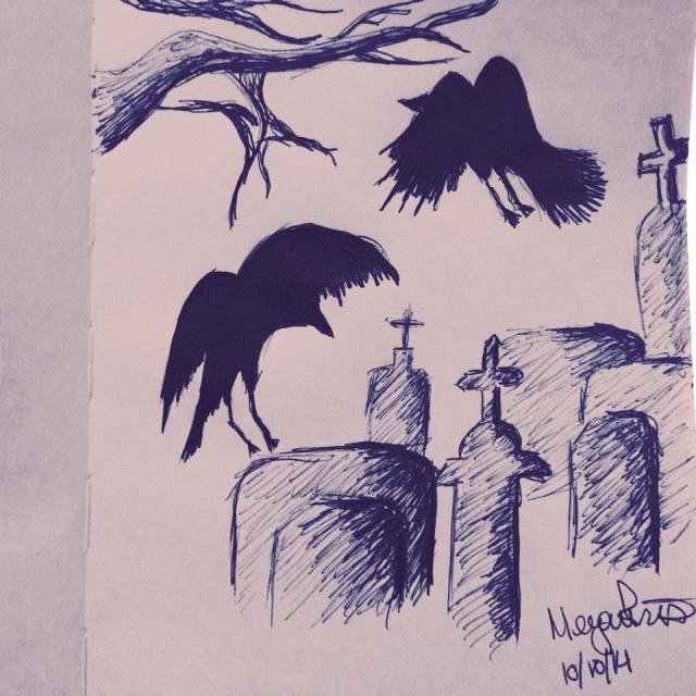 Crows in the cemetery #inktober sketch