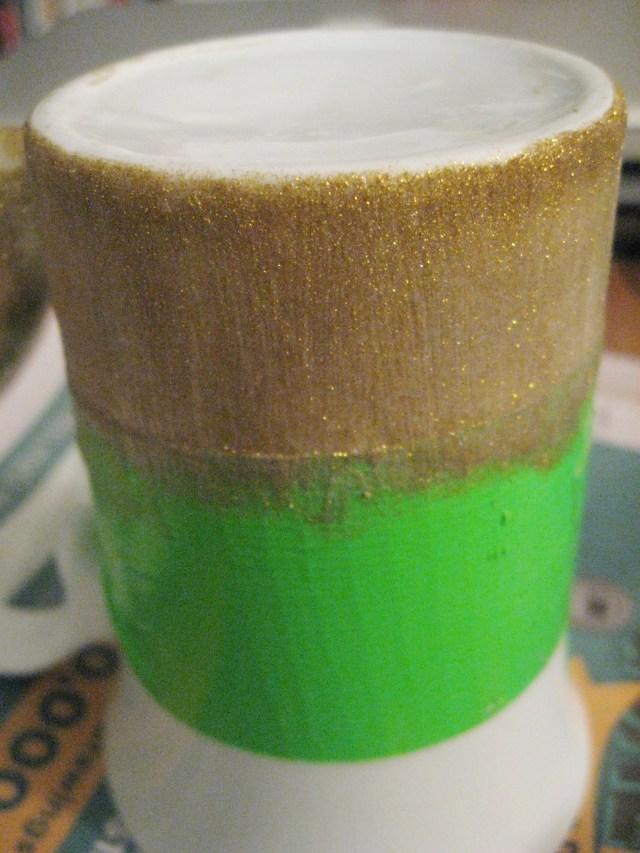 glitter-painted mug