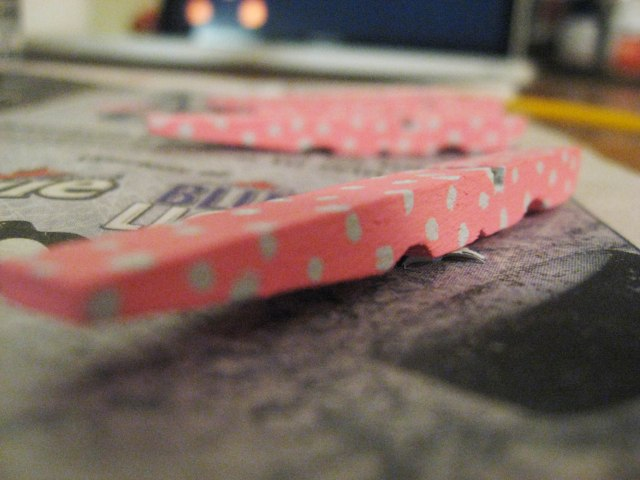 Pink clothespins with polka dots
